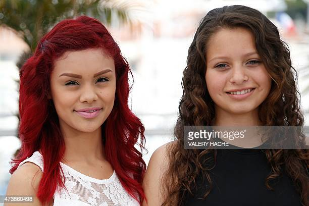Mexican actresses Leidi Gutierrez and Nancy Talamantes pose during a photocall for the film Las Elegidas at the 68th Cannes Film Festival in Cannes...