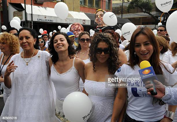 Mexican actresses Lilia Aragon Maria Rebeca Vica Andrade and Claudia Lizaldi dressed with white clothes take part in a rally called by Human Face...