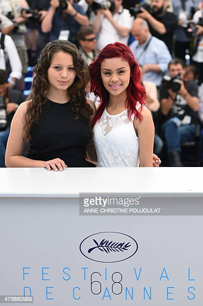 Mexican actresses Nancy Talamantes and Leidi Gutierrez pose during a photocall for the film Las Elegidas at the 68th Cannes Film Festival in Cannes...