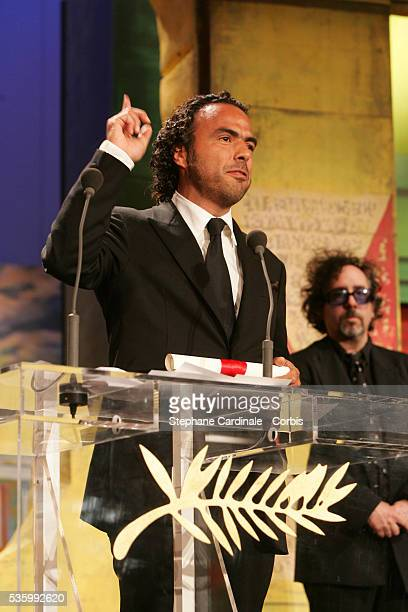 Mexican Alejandro Gonzalez Inarritu receives the 'Best Director' award for 'Babel' at the closing ceremony of the 59th Cannes Film Festival