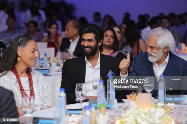 Mexican Ambassador to India Melba Pria actor Rana Daggubati and FDCI President Sunil Sethi during the Hindustan Times Game Changer Awards 2017 at...