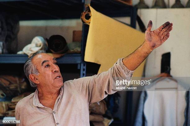 Mexican American actor and painter Anthony Quinn in his Art Studio