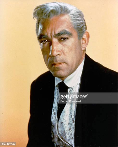 Mexican American actor Anthony Quinn on the set of Warlock based on the novel by Oakley Hall and directed by Edward Dmytryk