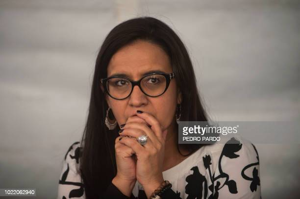 Mexican Ana Lorena Delgadillo Director of the Foundation for Justice attends a press conference in Mexico City marking the eight anniversary of the...