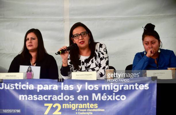 Mexican Ana Lorena Delgadillo Director of the Foundation for Justice speaks next to the director of the regional office of Amnesty International...