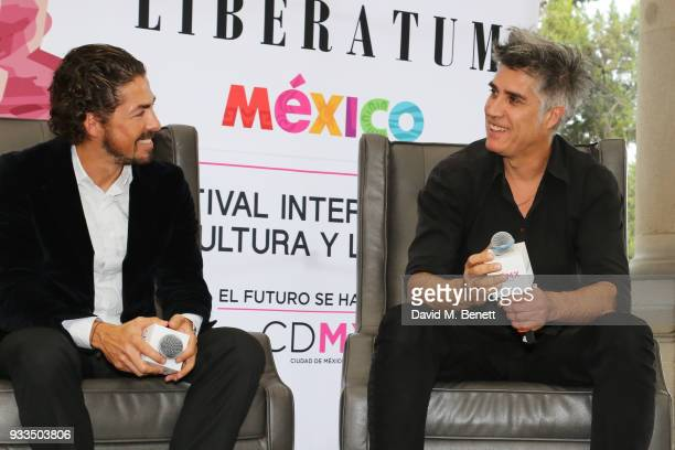 Mexican architect Fernando Romero and Chilean architect Alejandro Aravena speak onstage during day one of the Liberatum Mexico Festival 2018 at...