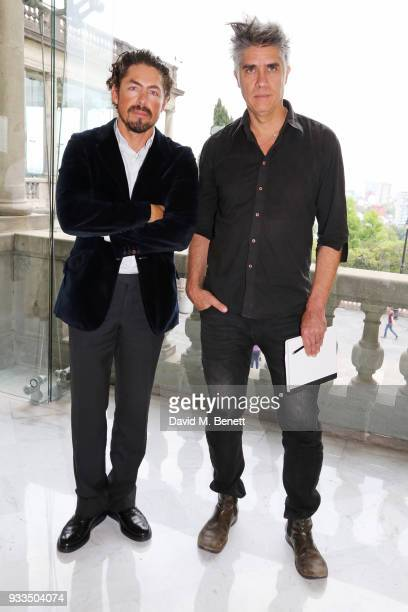 Mexican architect Fernando Romero and Chilean architect Alejandro Aravena pose at an afternoon tea held at the residence of Fernando Romero and...