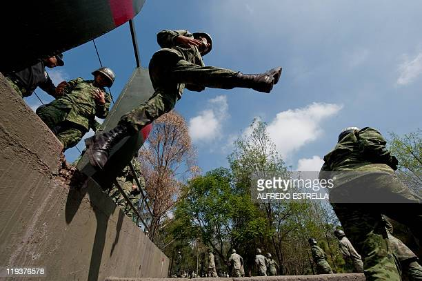 Mexican Army female soldiers learn to be paratroopers at the Military Camp in Mexico City on July 19 2011 22 years after the last generation of...