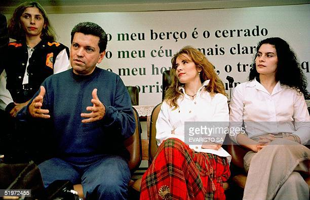 Mexican artist Gloria Trevi Maria Raquel Portillo and Sergio Andrade her representative speak to the press 05 December 2000 Trevi is charged with...