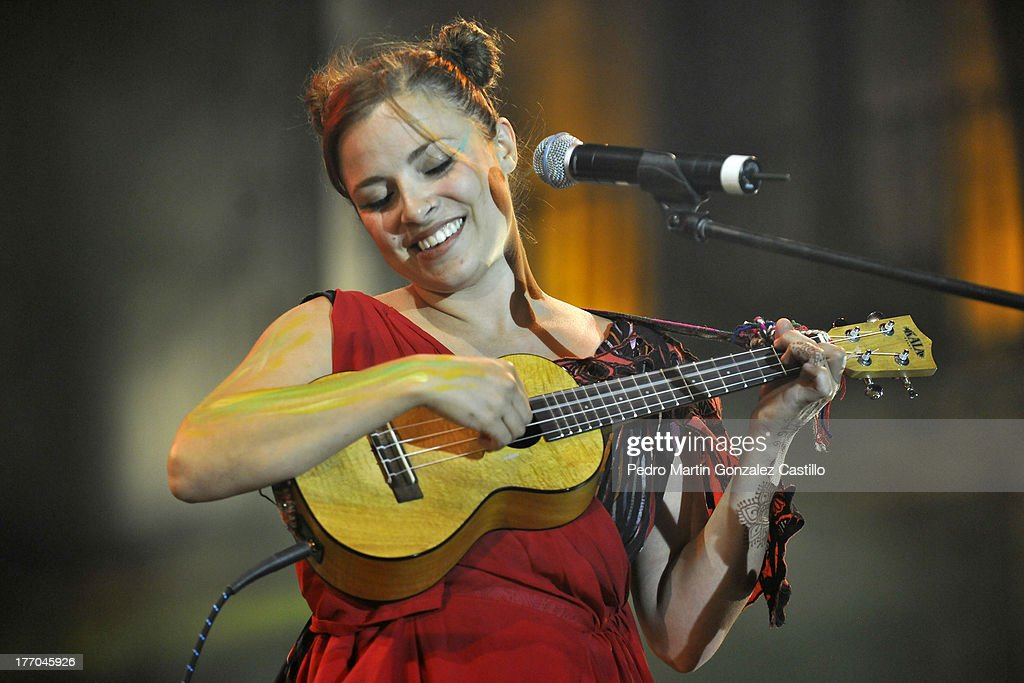 Mexican artist Laiden Gomis plays in the 6th International Festival Siguientescena, at Plaza las Armas on August 17, 2013 in Queretaro, Mexico.