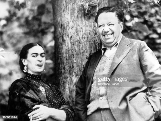 Mexican artits Diego Rivera and Frida Kahlo during the fake trial of Lon Trotski Diego Rivera was memeber of the mexican communist party He allowed...