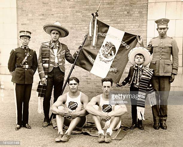 Mexican athletes prior to boarding the SS Majestic en route to the Olympic Games in Paris on 6th July 1924 Left to right Major Manuel Solis champion...