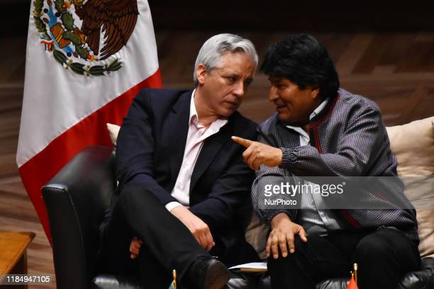 Mexican authorities conduct a dialogue with the First President of the Plurinational State of Bolivia, Evo Morales, where students and the public in...