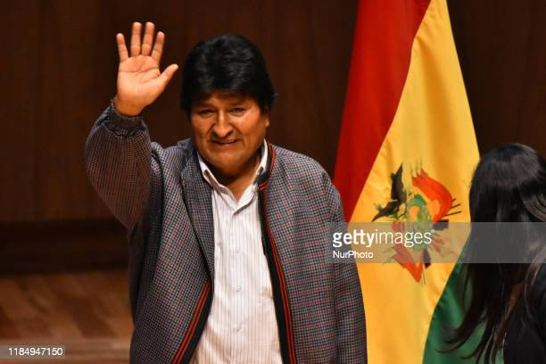 Mexican authorities conduct a dialogue with the First President of the Plurinational State of Bolivia Evo Morales where students and the public in...