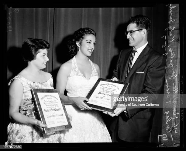 Mexican Awards, 9 February 1957..Mike Quevedo;Henrietta Gonzales;Katy Jurado;Edward R Roybal;William Lopez;Caption Slip reads: 'Photographer: Mack....
