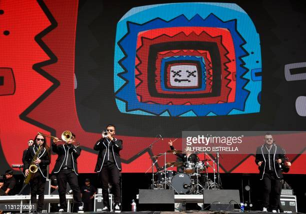 Mexican band Los Estramboticos performs during the second day of the 'Vive Latino' music festival in Mexico City on March 17 2019