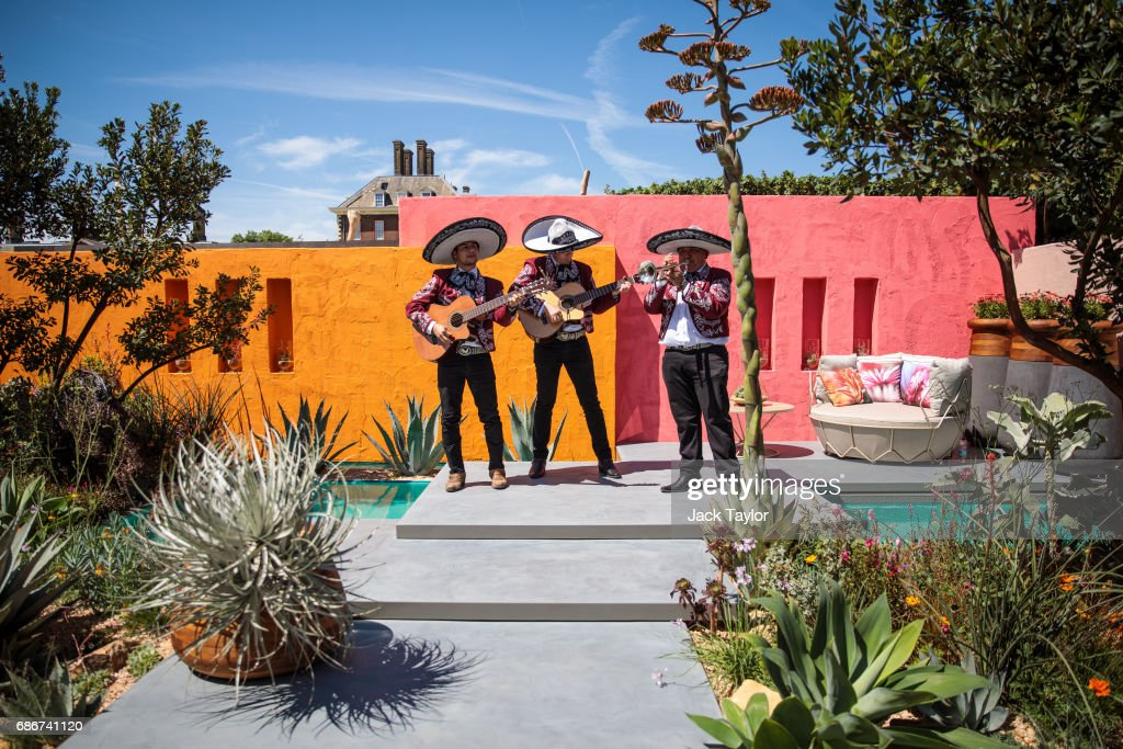 A Mexican band play in the 'Beneath the Mexican Sky Garden' at the Chelsea Flower Show on May 22, 2017 in London, England. The prestigious Chelsea Flower Show, held annually since 1913 in the Royal Hospital Chelsea grounds, is open to the public from the 23rd to the 27th of May, 2017.