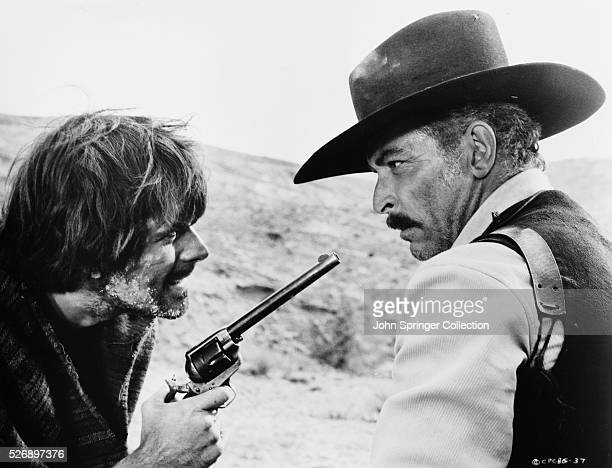 Mexican bandit Cuchillo Sanchez gets the drop on Jonathan Corbett in the 1966 Italian western La Resa dei Conti titled The Big Gundown when released...