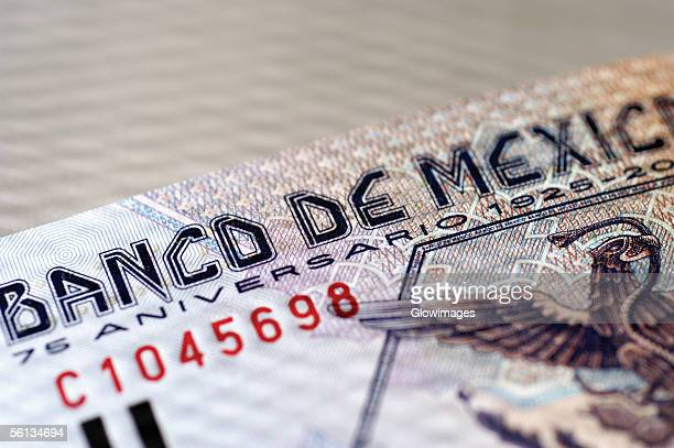 Mexican bank note, close-up