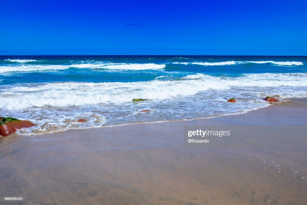 Mexican Beach And Waves Crashing In Stock Photo