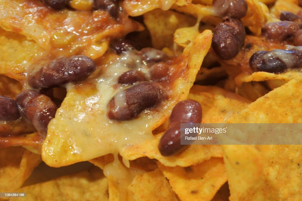 Mexican Beans and Nachos : Stock Photo