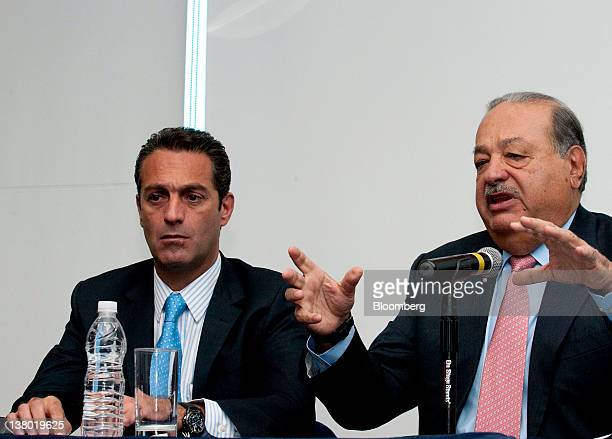 Mexican billionaire Carlos Slim chariman emeritus of America Movil Sab de CV which controls 70 percent of Mexico's mobilephone business right speaks...