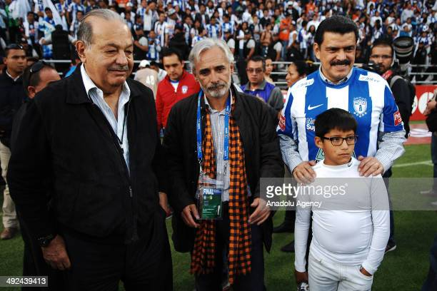 Mexican Billionaire Carlos Slim is see during the Liga BBVA Bancomer MX final match between Pachuca and Leon at Hidalgo Stadium on May 18 2014 in...
