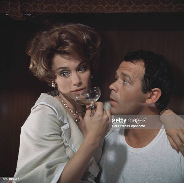 Mexican born actress Linda Christian pictured with Italian actor Renato Salvatori on the set of the film 'How to Seduce a Playboy' in 1968