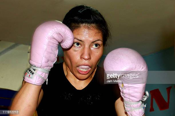 Mexican boxer Ana Maria Torres in action during a training session at Jordan Gym on April 08 2011 in Mexico City Mexico
