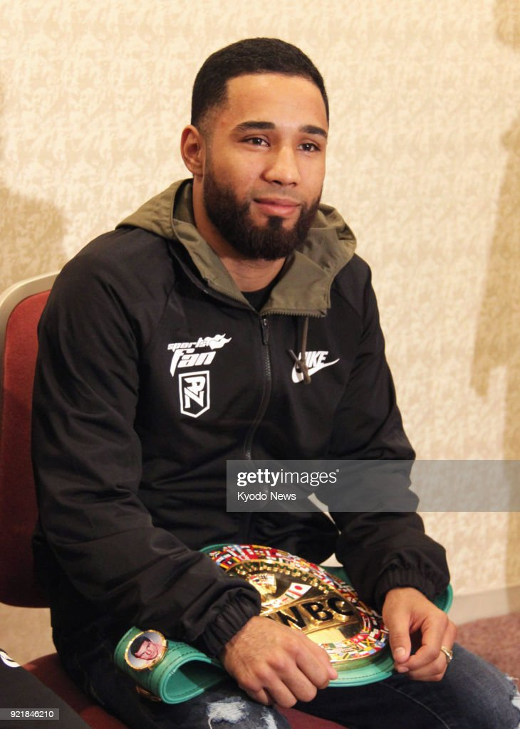 Mexican boxer Luis Nery, the bantamweight title holder of the World Boxing Council, speaks to reporters in Tokyo on Feb. 20, 2018, ahead of a match against the former champion Shinsuke Yamanaka on March 1. ==Kyodo