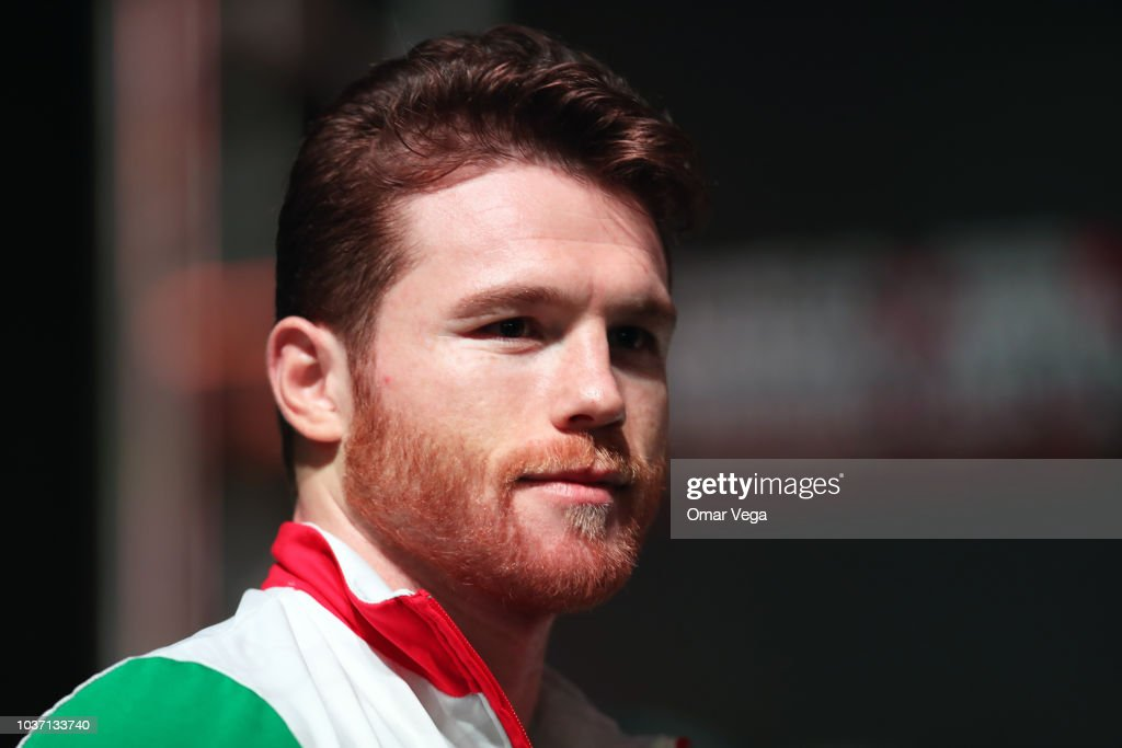 Mexican Boxer Saul Alvarez looks on during the official Weigh-in at T-Mobile Arena on September 14, 2018 in Las Vegas, Nevada.