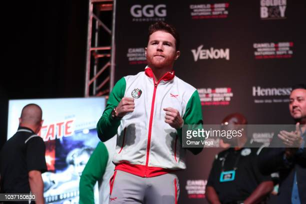 Mexican Boxer Saul Alvarez poses during the official Weighin at TMobile Arena on September 14 2018 in Las Vegas Nevada