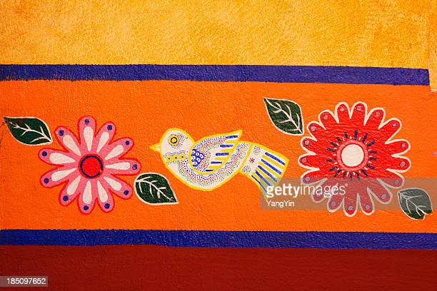 Mexican Brightly Colored, Painted Stucco Wall Decorated with Bird, Flowers