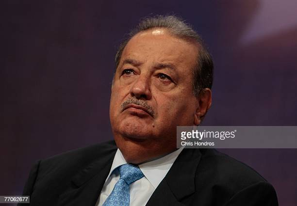 Mexican businessman Carlos Slim Helu one of the world's richest men appears during a panel discussion about Latin America at the Clinton Global...