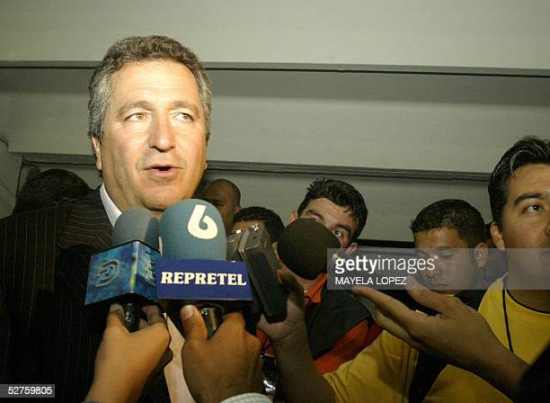 Mexican businessman Jorge Vergara who owns the Costa Rican team Deportivo Saprissa talks to the press after his team's victory for 20 against Pumas...