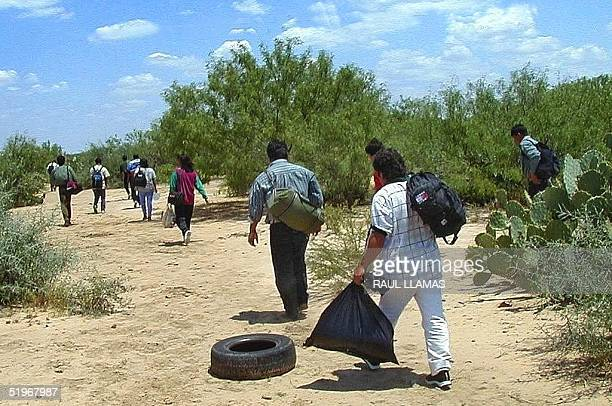 Mexican citizens walks the desert of the border zone between Mexico and the United States before crossing illegally towards the state of Texas 26...