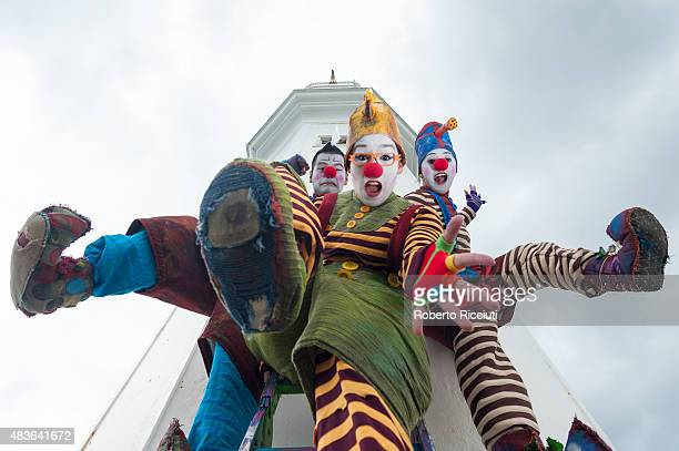 Mexican clowns Cazzo Lazzo and Pozzo from Triciclo Rojo attend a photocall to promote their show 'VAGABOND where will the wind take you' during...