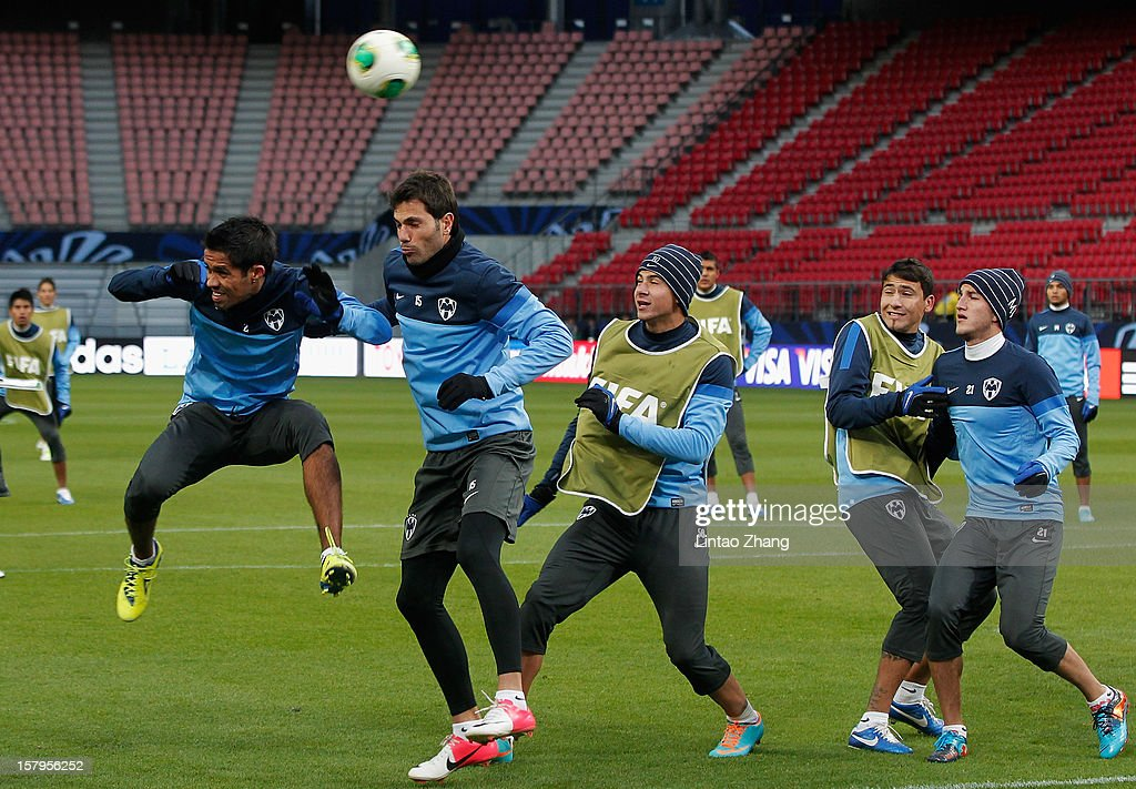 Mexican club team Monterrey defender Severo Meza (L-1) and team Monterrey captain Jose Maria Basanta (L-2) in action during CF Monterrey training session at Toyota Stadium on December 8, 2012 in Toyota, Japan.