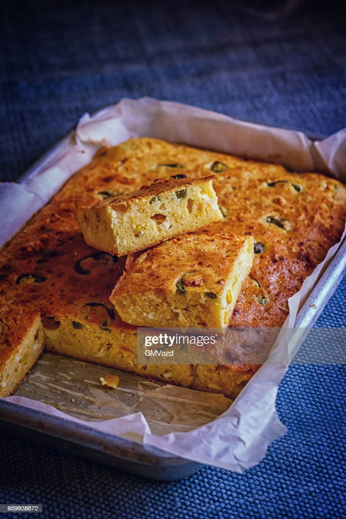 Mexican Corn Bread with Fresh Corn and Jalapenos : Stock Photo