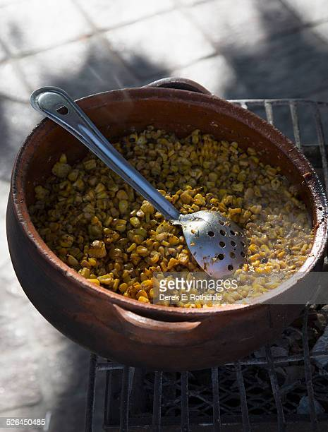 Mexican corn dish prepared on street