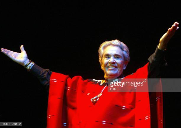 Mexican Costa Ricaborn singer Chavela Vargas acknowledges the audience at the Luna Park in Buenos Aires Argentina on April 5 2004 Iconic Mexican...