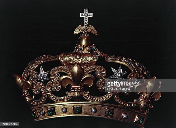 Mexican crown kept in the treasury of NotreDame Cathedral Paris IledeFrance France