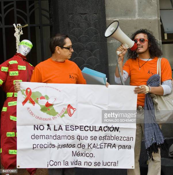 Mexican demonstrators protest against the price of antiHIV drugs in front of the Health Ministry in Mexico City on January 28 2009 The activists...