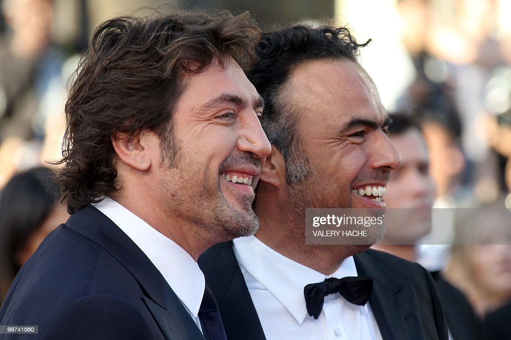 Mexican director Alejandro Gonzalez Inarritu (R) and Spanish actor Javier Bardem arrive for the screening of 'Biutiful' presented in competition at the 63rd Cannes Film Festival on May 17, 2010 in Cannes.