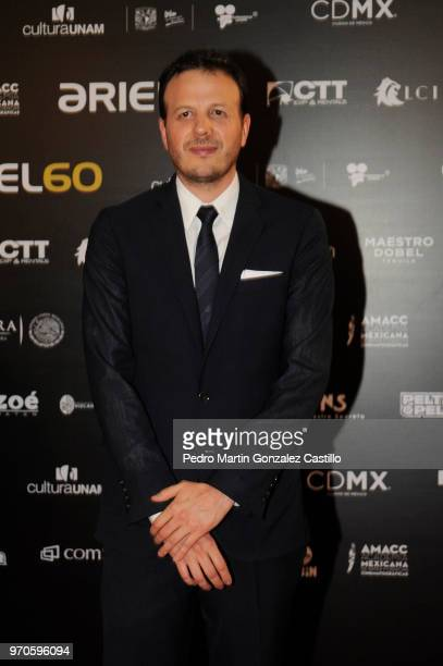 Mexican director Amat Escalante poses during the Red Carpet of 60th Ariel Awards at Palacio de Bellas Artes on June 5 2018 in Mexico City Mexico