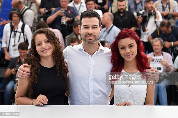Mexican director David Pablos poses with Mexican actresses Nancy Talamantes and Leidi Gutierrez during a photocall for the film Las Elegidas at the...