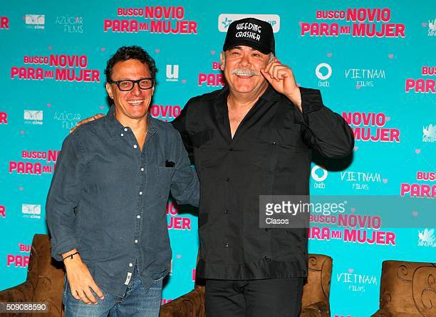 Mexican director Enrique Begne and actor Jesus Ochoa pose for pictures during a press conference of the film 'Busco novio para mi mujer' at...