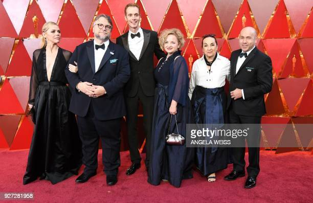 Mexican director Guillermo del Toro arrives with cast members for the 90th Annual Academy Awards on March 4 in Hollywood California / AFP PHOTO /...