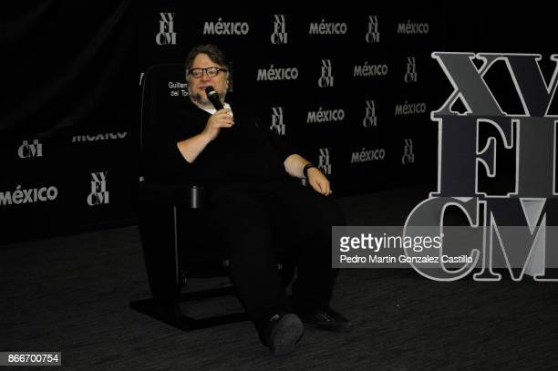 Mexican director Guillermo del Toro speaks during the press conference of 'The Shape of Water' as part of the XV Morelia International Film Festival...