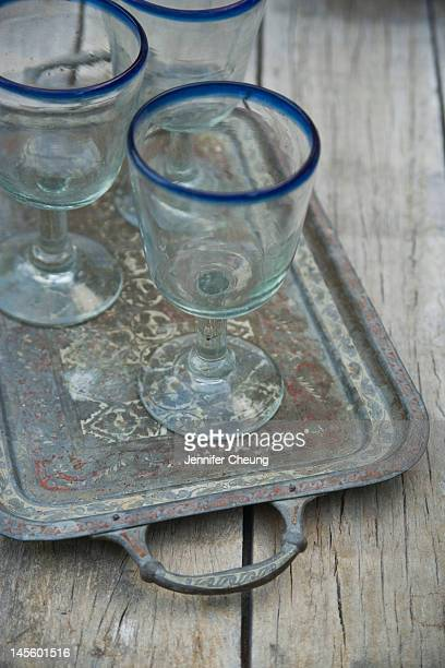 Mexican drinking glasses on a tray